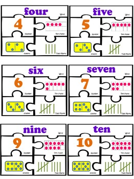Number Sense work Station Math centers Puzzles 1-10