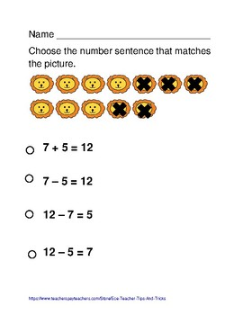 Number Sentence Review Worksheets