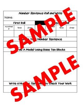 Number Sentence Roll and Write Game