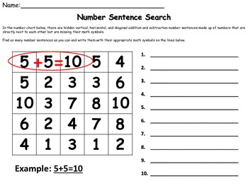 Number Sentence Search