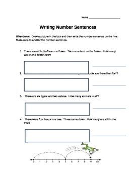 Number Sentence Worksheet