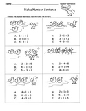 Number Sentences Choose Add or Subtract to Match Picture TEST PREP SAMPLE