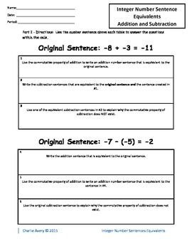 Number Sentences Equivalents - Adding and Subracting Integers