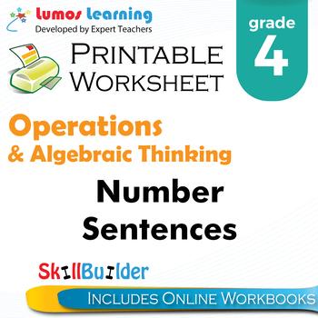 Number Sentences Printable Worksheet, Grade 4