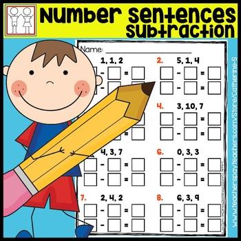 Number Sentences to 10 Worksheets