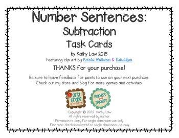 Number Sentences: Subtraction Task Cards