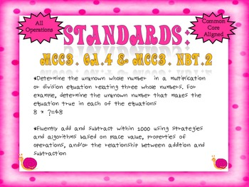 Number Sentences Task Cards 3rd Grade Common Core
