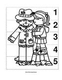 Number Sequence 1-5 Preschool B&W Picture Puzzle - Autumn