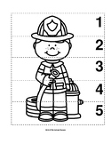 Number Sequence 1-5 Preschool B&W Picture Puzzle - Firefighter