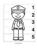 Number Sequence 1-5 Preschool B&W Picture Puzzle - Police Officer