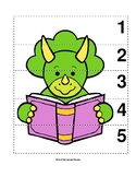 Number Sequence 1-5 Preschool Dinosaur Picture Puzzle - Reading Triceratops