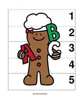 Number Sequence 1-5 Preschool Picture Puzzle - Christmas Gingerbread Girl