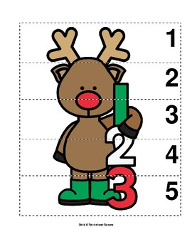 Number Sequence 1-5 Preschool Picture Puzzle - Christmas Reindeer