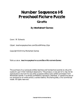 Number Sequence 1-5 Preschool Picture Puzzle - Giraffe