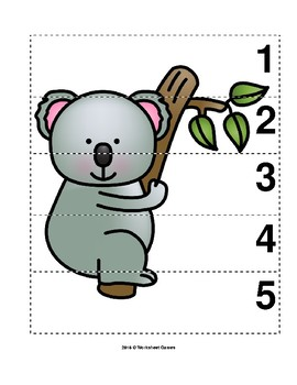 Number Sequence 1-5 Preschool Picture Puzzle - Koala