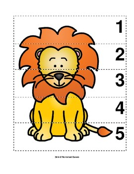 Number Sequence 1-5 Preschool Picture Puzzle - Lion