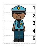 Number Sequence 1-5 Preschool Picture Puzzle - Police Officer