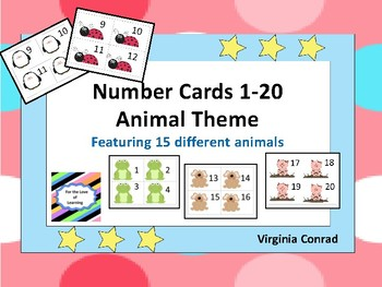 Number Sequence Animal Cards (1-20)  15 Sets with Animals