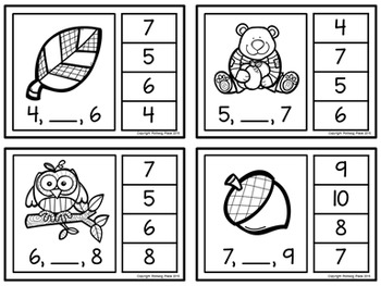 Number Sequence Clip Cards: Autumn Fun (Numbers 1-20)