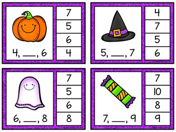 Number Sequence Clip Cards: Halloween (Numbers 1-20)