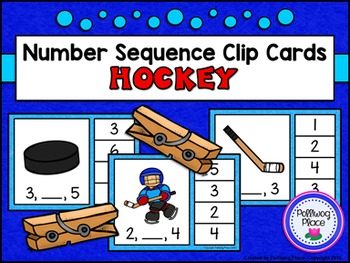 Number Sequence Clip Cards: Hockey (Numbers 1-20)