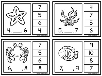 Number Sequence Clip Cards: Sea Life (Numbers 1-20)