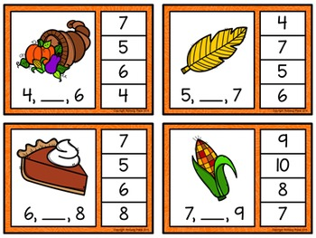 Number Sequence Clip Cards: Thanksgiving (Numbers 1-20)