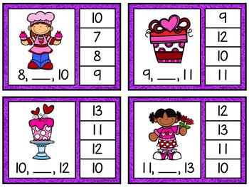 Number Sequence Clip Cards: Valentines (Numbers 1-20)