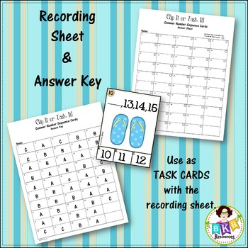 Number Sequence Clip Cards or Task Cards