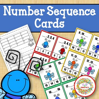 Number Sequence Clothespin and Task Cards - Bug Theme