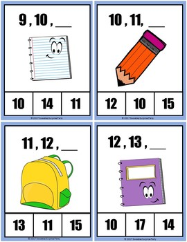 Number Sequence Clothespin and Task Cards - Back to School Theme