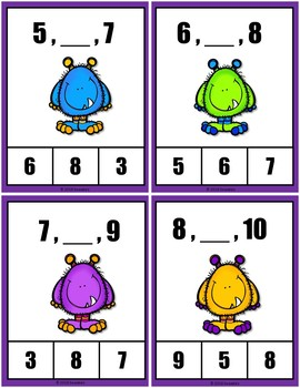 Number Sequence Clothespin and Task Cards - Monster Theme