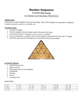 Number Sequence Game Puzzle with Worksheet