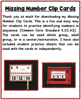 Number Sequence - Missing Number Clip Cards