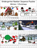 Number Sequence Puzzles - Christmas - Kindergarten Math
