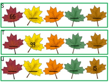 Number Sequence Task cards, leaf theme