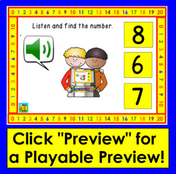 Boom Cards Math: Number Recognition to 20 Interactive Self-Chcking Digital Cards