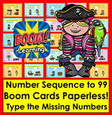 Boom Cards Math:  Number Sequence to 100 - No Prep!  Pirate Theme