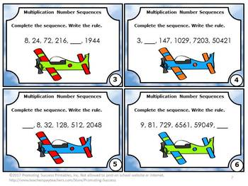 Number Sequence, 4th Grade Multiplication Task Cards