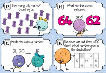 Number Sequences to 100 Task Cards
