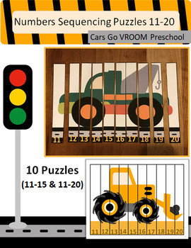 Number Sequencing Puzzles (11-15 & 11-20) - Cars Go VROOM Preschool