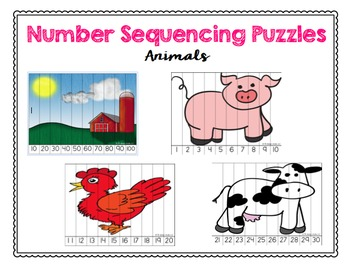 Number Sequencing Puzzles - Animal Edition