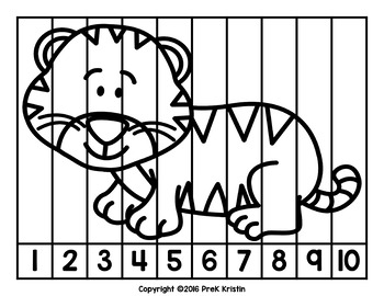 Counting Number Puzzles: Animal Themed