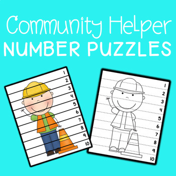 Community Helpers Number Sequencing Puzzles