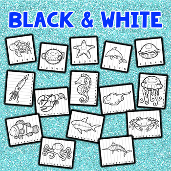 Number Sequencing Puzzles - Ocean Animals