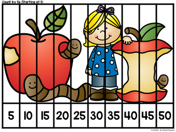 Number Sequencing Skip Counting Puzzles Apple Themed