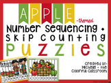 Number Sequencing + Skip Counting Puzzles {Apple - themed}