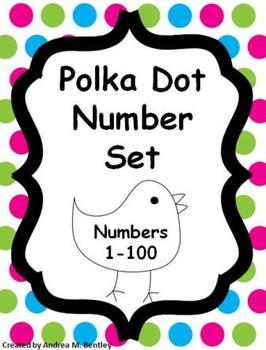 picture relating to Printable Number Cards 1 100 known as Range Preset 1-100 Polka Dot Topic