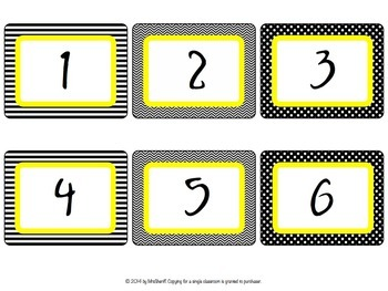 Number Set - Black and White with Yellow {EDITABLE}