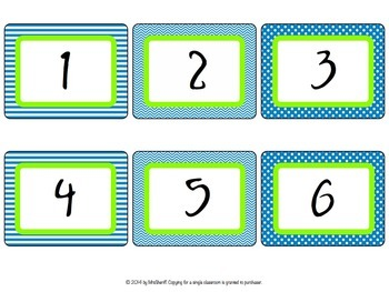 Number Set - Blue and Lime {EDITABLE}